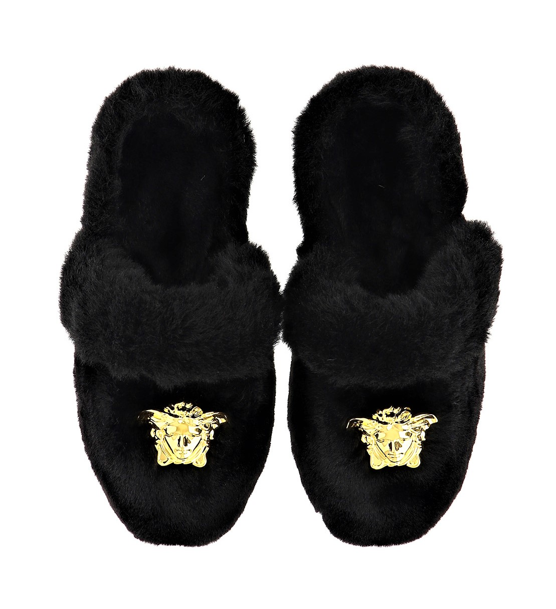 VERSACE Faux Fur Slippers Gold Medusa Black
