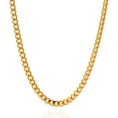 KING ICE 14K Gold Plated Necklace Cuban Curb CHX09832 5mm 26""