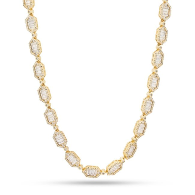 "KING ICE 14k Gold Plated Necklace Hexagon 22"" CHX14032"