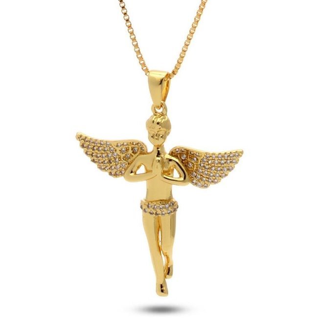 KING ICE 14k Gold Plated Necklace Mini Praying Angel NKX10652