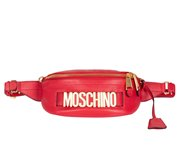 MOSCHINO Grained Leather Bum Bag Red