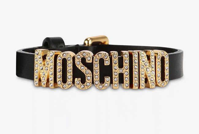 MOSCHINO Leather Logo Bracelet Crystals Black