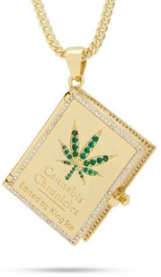 King Ice 14k Gold Plated The Cannabis Chronicles Necklace NKX14009