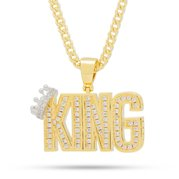 King Ice 14k Gold Plated The Crowned King Necklace NKX12985