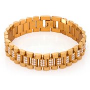King Ice 14k Gold Plated Rolex Link Bracelet BRX12072