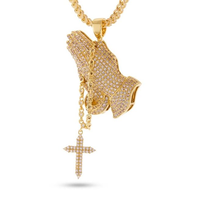 King Ice 14k Gold Plated Rosary Praying Hands Necklace NKX12776