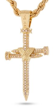 King Ice 14k Gold Plated Nail Cross Necklace NKX12407