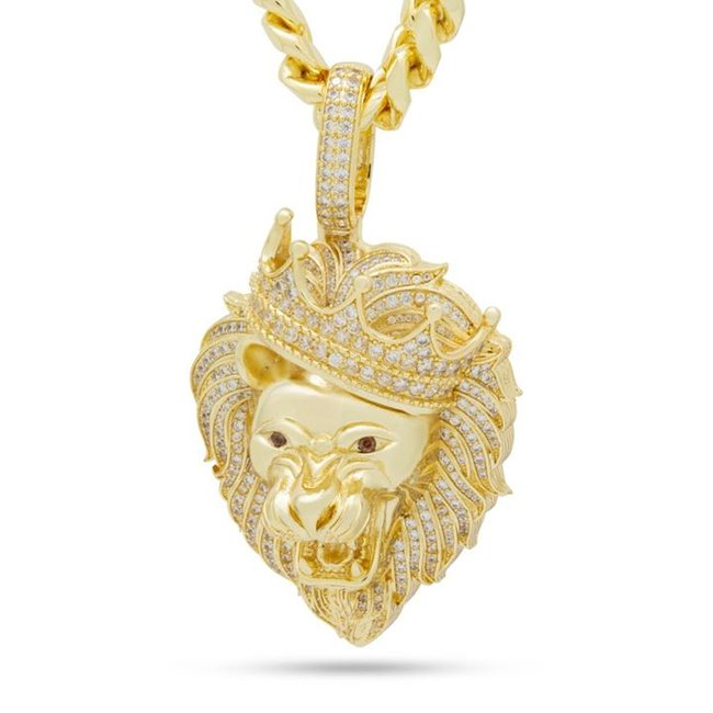 King Ice 14k Gold Plated Classic Iced Roaring Lion Necklace NKX14254-S