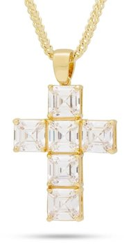 King Ice 14k Gold Plated The Celestial Cross NKX13347 Necklace