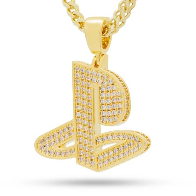 King Ice 14k Gold Plated Classic PS Logo Necklace NKX14138