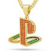 King Ice 14k Gold Plated Classic Ps Logo Necklace Rainbow NKX14138