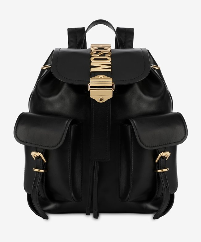 MOSCHINO Belt Backpack Smooth Leather Black