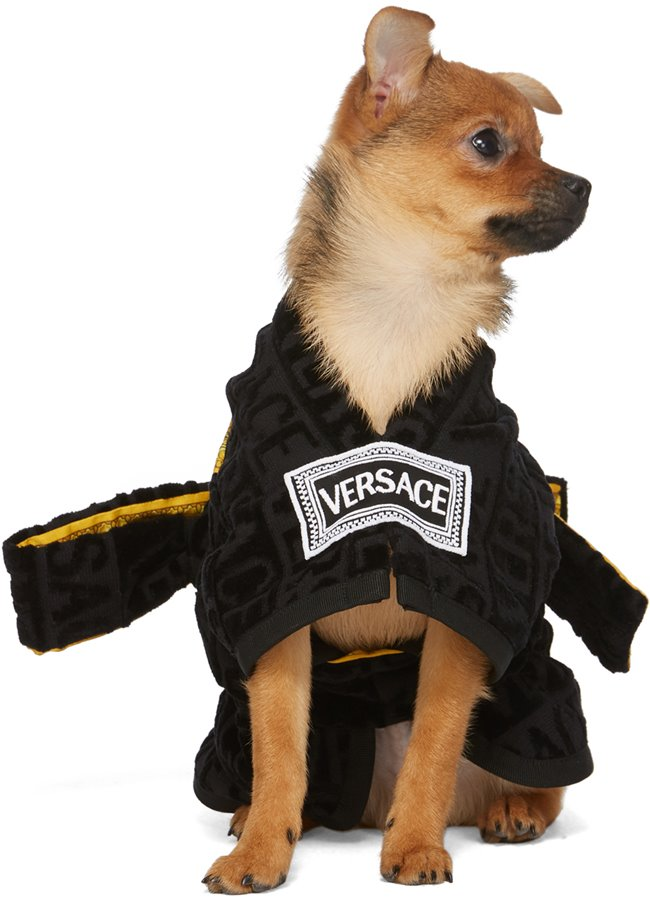 VERSACE I Love Baroque Dog Bathrobe Black