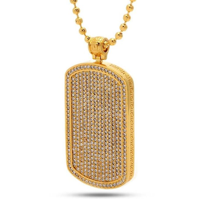 King Ice 14k Gold Plated Dog Tag Necklace NKX11471