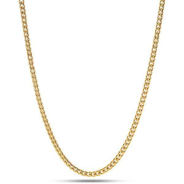 KING ICE 14K Gold Plated Cuban Curb Necklace CHX09830 3mm 26""