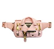 MOSCHINO Biker Leather Bumbag Pink/Gold