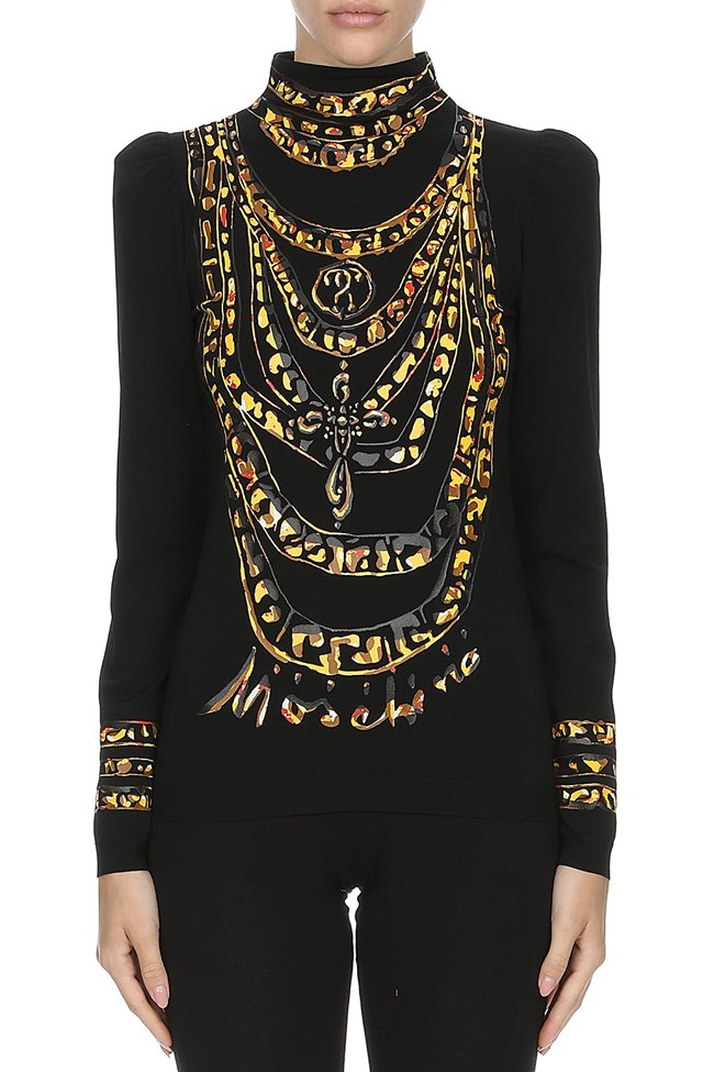 MOSCHINO Sweater Chains + Puffed Shoulder Black