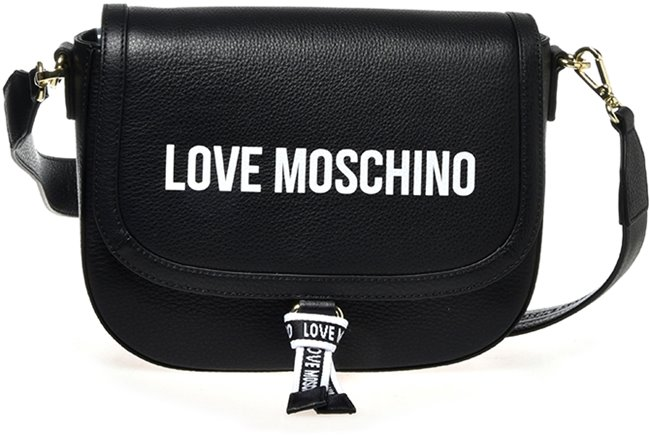 Love Moschino Grained Shoulder Bag logo Paint Black
