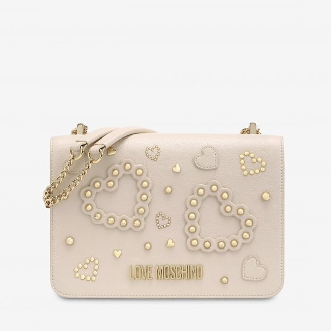 Love Moschino Flap Bag Heart Studs Pink Large