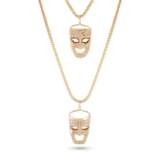 King Ice 14k Gold Plated Laugh Now Cry Later Necklace Set NKX12223