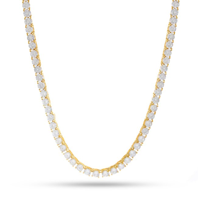 "KING ICE 14K Gold Plated Necklace CHX02953 5 mm 26"" Tennis"