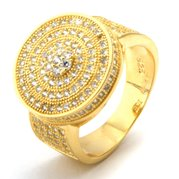 King Ice 14k Gold Plated Button Ring RGX09809