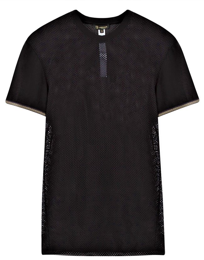 b29422273 Drakesboutique - VERSACE Men's T-shirt Mesh Black Gold-Trim