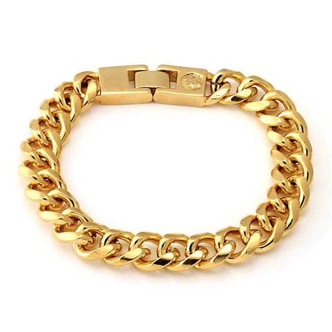 King Ice 14k Gold Plated 12mm Miami Cuban Chain Bracelet BRX09846-8