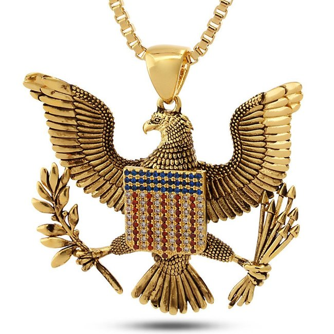 King Ice 14k Gold Plated Great Seal Necklace NKX11686
