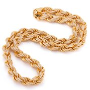 King Ice 14k Gold Plated 10mm CZ Rope Chain NKX12639-26