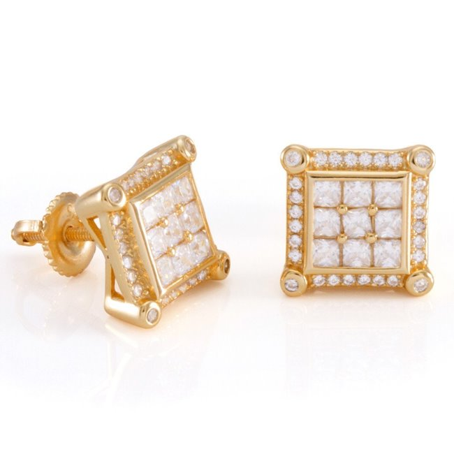 King Ice 14k Gold Plated Pronged Earrings ERX12196