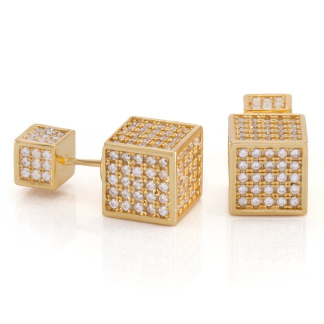 King Ice 14k Gold Plated Cubist Earrings ERX12207