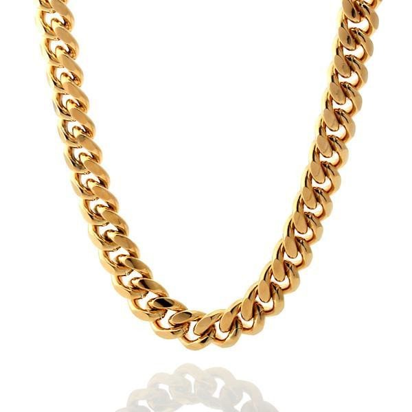 King Ice 10mm 14k Gold Plated Miami Cuban Curb Chain NKX09834 66cm / 26""