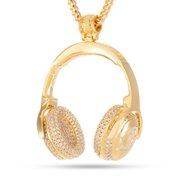 King Ice 14k Gold Plated Snoop Dogg Headphone Necklace NKX12230