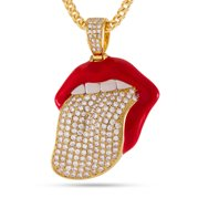 King Ice 14k Gold Plated Desire Necklace Red Lips NKX12354