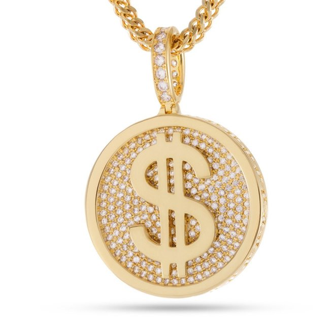 King Ice 14k Gold Plated Fortune Coin Necklace NKX12408