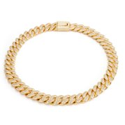 King Ice 14k Gold Plated 15 CZ Miami Cuban Necklace NKX12530