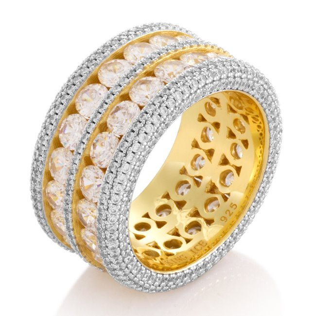 King Ice 14k Gold Plated Complex Eternity Ring RGX12871