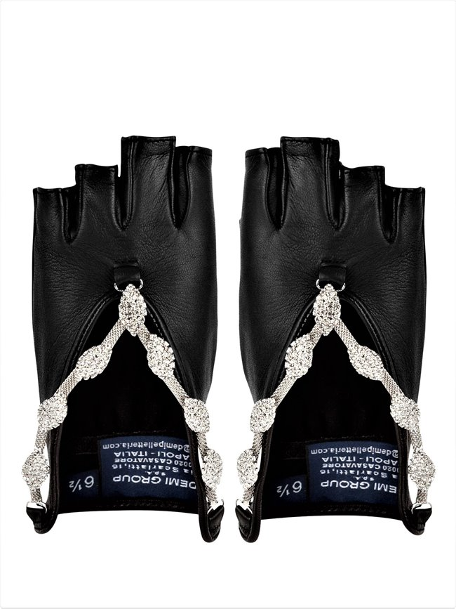 Demi Group DN2014114 Swarovski Fingerless Leather Gloves