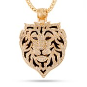 King Ice 14k Gold Plated Phantom Lion Necklace NKX12172