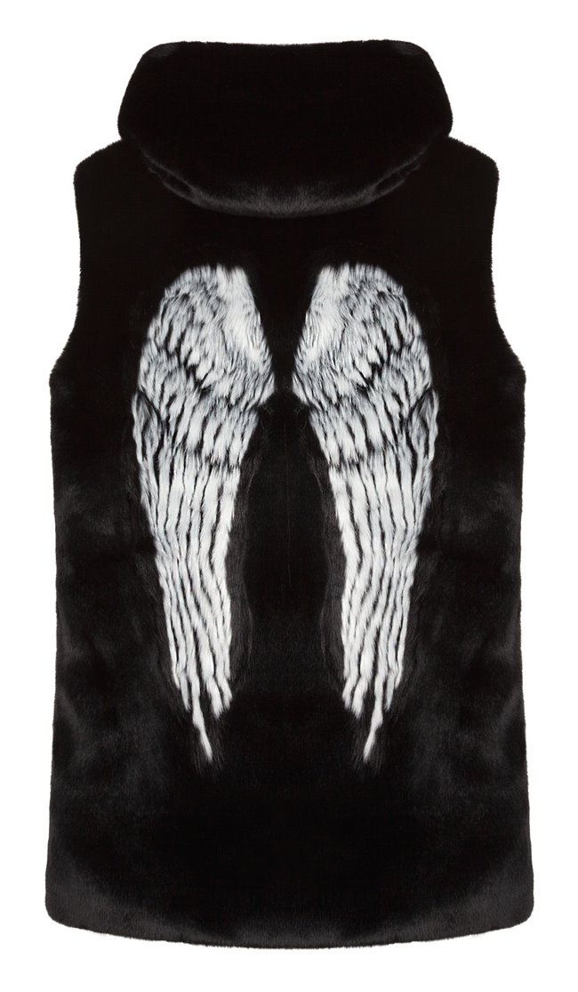 Uber 5149 Wings Jacquard Faux Fur Hoodie Vest Black