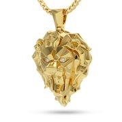 King Ice 14k Gold Plated Faceted Lion Necklace NKX11978