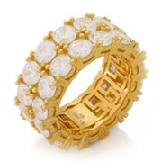 King Ice 14k Gold Plated  Two Row Ring RGX12320