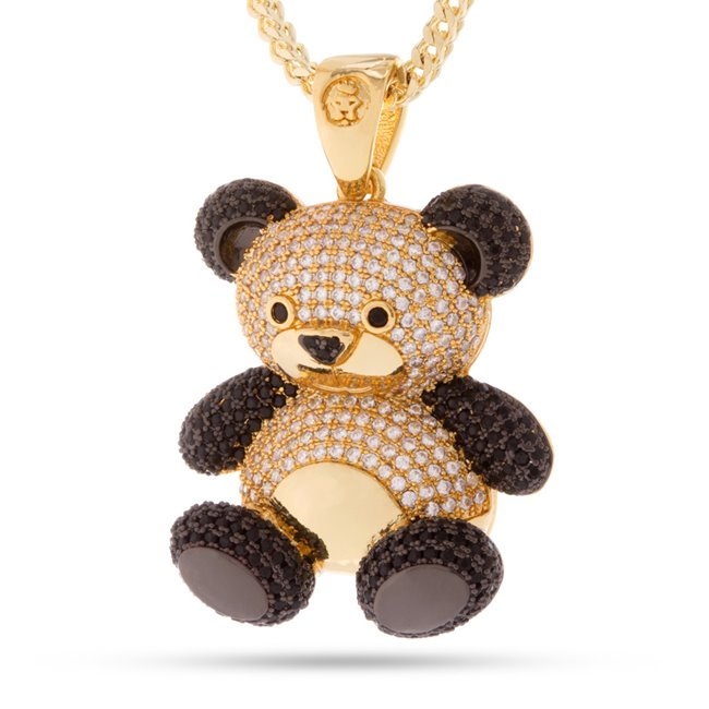 King Ice 14k Gold Plated CZ Panda Necklace NKX11570