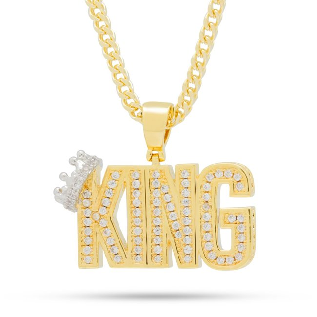King Ice 14k Gold Plated Crowned King Necklace NKX12985