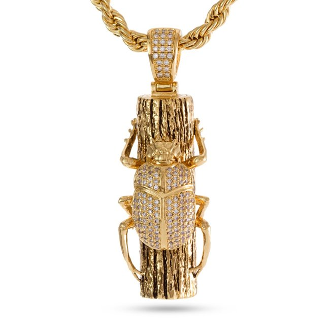 King Ice 14k Gold Plated Egyptian Scarab Necklace NKX12670