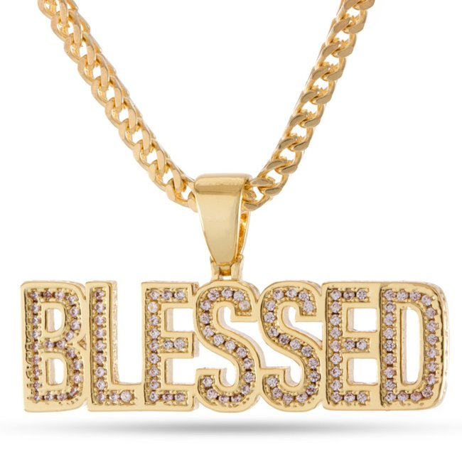 King Ice 14k Gold Plated Blessed Necklace NKX12769