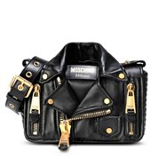 MOSCHINO Bikerbag Black Brushed Gold 20 cm