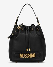 MOSCHINO Bucket Bag Leather Black Large
