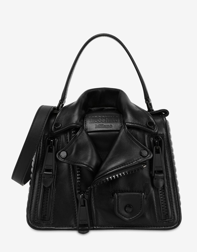 MOSCHINO Biker Handle Bag All Black